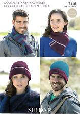 Crochet Pattern for Mens /& Womens Hats /& Scarf DK Sirdar 7116
