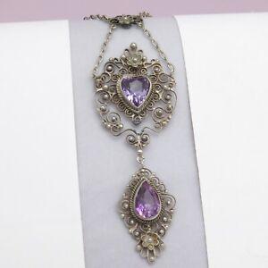 Antique Victorian Edwardian Silver Filigree Heart Pendant Drop Necklace