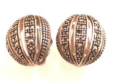 Vintage Oxidized Sterling Silver 925 Marcasite Cluster Dome Clip On Earrings