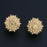LOVELY BRAND NEW 18K GOLD PLATED GENUINE AUSTRIAN CRYSTAL GOLD CLIP-ON EARRINGS
