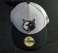 MINNESOTA TIMBERWOLVES NBA NEW ERA 59FIFTY GREY FITTED LOW CROWN HAT 7 3/8 NWT