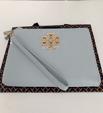 NWT Tory Burch Britten Large Pouch /Wristlet Leather Seltzer Blue $225