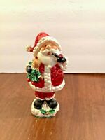 Santa Claus Bobblehead Figurine Polyresin Red Glitter 7""