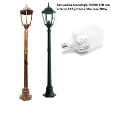 Lampione da giardino 180cm lampada turbo led E27 30W lanterna mod NewYork IP65