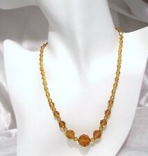 Czech Vintage Art Deco Amber Faceted Graduated Glass Bead Necklace