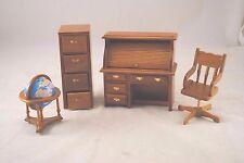 Library Set  Globe Desk Filing Cabinet dollhouse miniature 1/12 scale T6635 4pcs