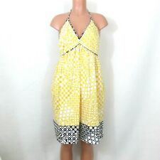 London Times Size 10 Yellow Cotton Halter Sundress Black Trim Empire Waist Lined