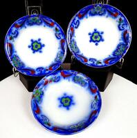 "EMPIRE PORCELAIN STOKE ON TRENT ASTORIA FLOW BLUE 3 PC 4 3/4"" DESSERT BOWLS 1912"
