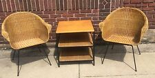 Vintage Mid Century Modern Italian 3 Piece Wicker Patio Set (A)