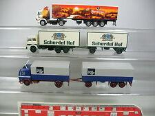 aj394-0, 5 # 3 x herpa H0 Camión: MERCEDES MB wernberger + Textil GRUPO + FIAT