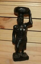 Vintage African hand carving wood statuette woman carry vessel on her head