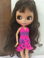 "Crocheted Dress For 12"" Neo Blythe doll Takara doll Gown Outfit Clothes Gift"