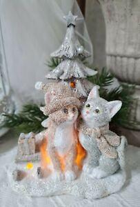 Weihnachtdeko Katze LED  Deko Figur Christmas Weihnachten Shabby Vintage