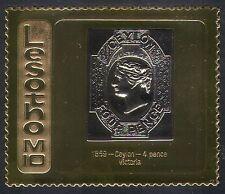 Lesotho 1981 M10 GOLD/Ceylon 1869 4p Victoria/Stamp-on-Stamp/S-on-S 1v (b1265)