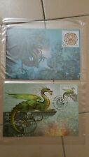 2012 Chinese Lunar New Year - Serbia Dragon Stamp Maxima Cards pair cw Fdc chop