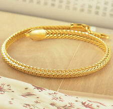 COOL heavy Authentic 14K Yellow Solid Gold Filled Mens Snake Chain Bracelet