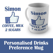 Personalised/Drinks Preference/Facebook Style Cup, Name on Mug, Office/Work Gift