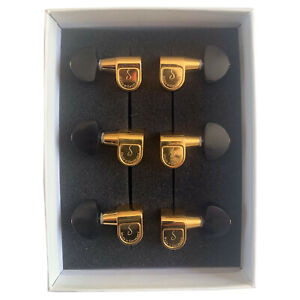 SCHALLER GOLD M6 3 + 3 TUNERS MACHINE HEADS PIN MOUNT WITH CUSTOM EBONY BUTTONS