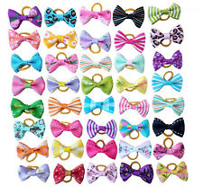 20Pc Mixed Hair Bows W/Rubber Bands For Small Dog Cat Grooming Bowknot Accessory