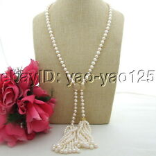 "S102807 32"" White Pearl Necklace CZ Pendant"