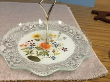 Tidbit Snack Serving Plate Made in England Flower Design Silver Finish Handle