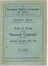 QUEEN'S HALL PROGRAMME 1930 SECOND CONCERT THE LONDON BALLAD CONCERTS