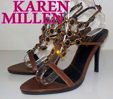 "Luxury ""Karen Millen"" Brown Leather Swarovski  SANDALS  Shoes UK 6.5 EU 40 £205"
