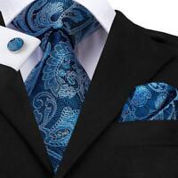 USA Blue Paisley Mens Tie Necktie Silk Jacquard Woven Set Wedding Party XL