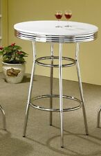50's Retro Soda Fountain Bar Table with a White Top by Coaster 2300