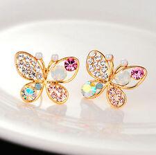 Womens Crystal Butterfly Pearl Hollow Ear Stud Earring Pierced Charm Jewelry