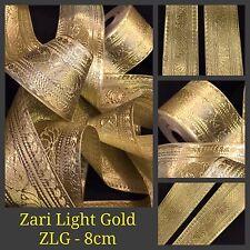 Cinta de oro de 1 yarda Zari frontera Sari De Seda Lazo Artesanía Encaje Flecos cose en ajuste