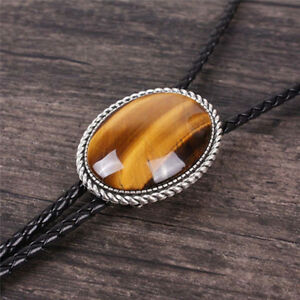 """Tiger's Eye Stone Mens Bolo Tie Slide Clip 40"""" PU Leather Rope Western Cowboy"""