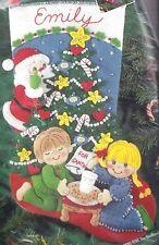 """Cookies for Santa""  Christmas Felt Applique' Stocking Kit - Bucilla NIP 83391"