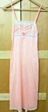 Vintage Mid Length Orange & White Lace Nightgown Lingerie Nylon S