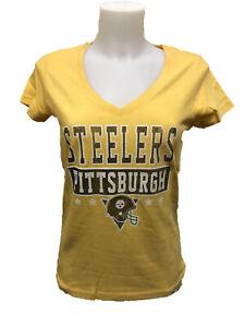 Pittsburgh Steelers Women's 47 Brand Flanker V-Neck T-Shirt - Yellow