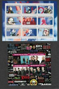 U2 rock music 2 mini sheet mnh postage stamps -Tchad + Guinee