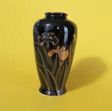 Yamaji Black Vase Japan 4 1/2 in tall Gilded Iris  Gilded Rim