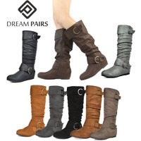 DREAM PAIRS Womens Wide-Calf Knee High Low Hidden Wedge Slouch Buckle Boots 5-11