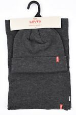 LEVI'S Men's 2-pc Knitted Winter Set, Scarf + Beanie Hat, Dark Grey