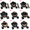 18K Gold Plated Crystal Wedding Party Necklace Earrings Set Fashion Jewelry Sets