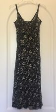 DKNY Black &  Beige V-Neck Sleeveless Floral Lace  Flared Dress SZ 8 LBD