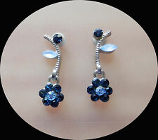 Vintage Flower Earrings with Sapphire Australia Crystals Perfect Gift E1341