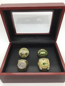 Set of 4 Green Bay Packers Ring Super Bowl Championship Ring with Display Box