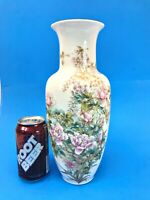 Floral/Butterfly Decorated White Pottery/Porcelain FLOWER VASE Chinese vintage?