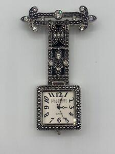 Joan Rivers Art Deco marcasite style brooch watch stunning