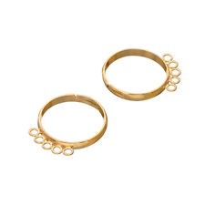Adjustable Ring Bases 5 Loops (18mm) Gold Plated Pack of 2 (G96/7)