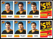 1980'S VANCOUVER CANUCKS SHELL 24 card FULL TEAM SET NM UNCUT PANELS WITH STUB