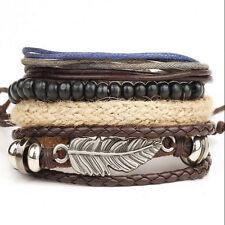 Men's Multilayer Braided Leather Cuff Bangle Charm Bracelet Adjustable Wristband