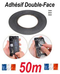 DOUBLE FACE RUBAN ADHESIF 3M PR VITRE TACTILE TV iPhone 1mm 2mm 3mm X 50M