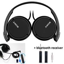 Sony Bass Over Ear Studio Monitor Black Stereo Headphones + Bluetooth Rcvr